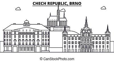 Chech Republic, Brno architecture line skyline illustration....