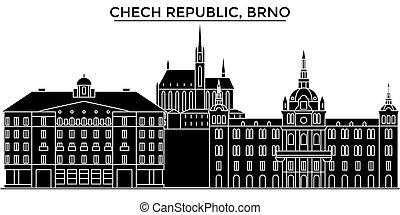 Chech Republic, Brno architecture vector city skyline,...