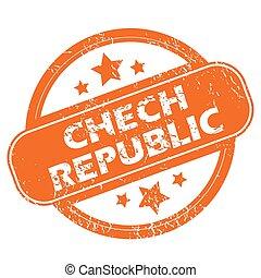 Chech Republic grunge icon - Chech Republic orange grunge...