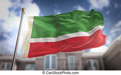 Chechen Republic Flag 3D Rendering on Blue Sky Building Background