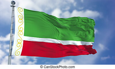 Chechen Republic Flag in a Blue Sky. Use this clip