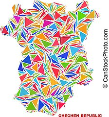 Chechen Republic Map - Mosaic of Color Triangles - Mosaic...