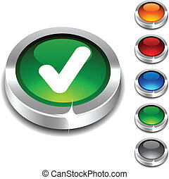 Check 3d button. - Check 3d button set. Vector illustration....