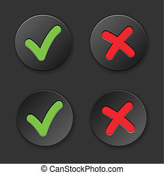 Check And Cross Mark Button Set. Vector Illustration