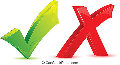 Check and Cross Mark - illustration of green check mark and...