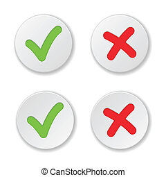 Check And Cross Mark Stickers Set. Vector Illustration