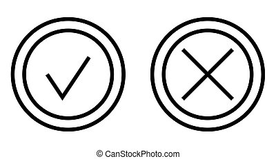 Check and Cross Mark Thin Line Vector Icon