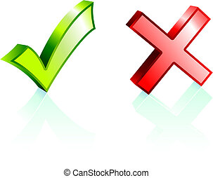 Check and X Mark Original Vector Illustration Nsture Concept