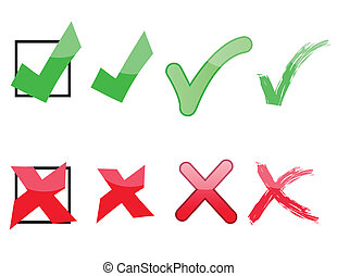Checks: ticks and x's useful for survey polls. Isolated over white.