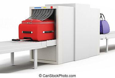 Check baggage at the airport x-ray scanner. 3d illustration.