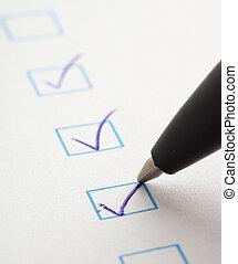 questionnaire - check box of questionnaire, extreme closeup...