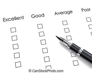 black pen over rating survey