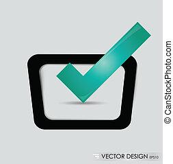 Check-box with green check-mark , vector illustration.