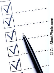 Check boxes on white paper