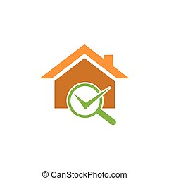 Check Building with magnifying glass. Concept of finding a good house. home vector icon