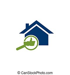 Check Building with magnifying glass. Concept of finding a good house