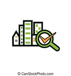 Check Building with magnifying glass. Concept of finding a good house. Vector Illustration on white background