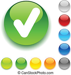 Check  button. - Check shiny button. Vector illustration.