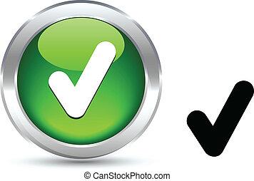 Check button. - Check realistic button. Vector illustration....