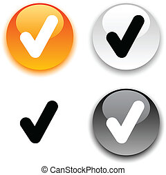 Check button. - Check glossy round vector buttons.