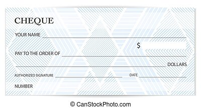 Check (cheque), Chequebook template. Guilloche pattern with abstract watermark, spirograph