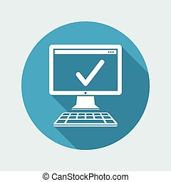 Check computer - Vector flat minimal icon