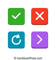 Check, delete or close, refresh, arrow icons set in flat and line style. Set of buttons for website or application design