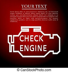 Check engine flat icon on red background. Vector Illustration