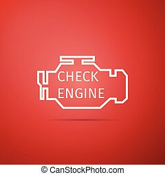 Check engine icon isolated on red background. Flat design. Vector Illustration