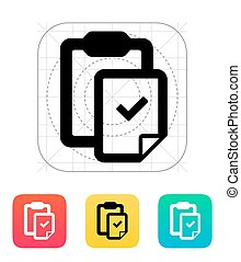 Check file with clipboard icon. Vector illustration.