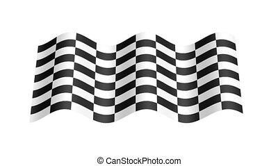 Check flag wavy, 3d animation loop