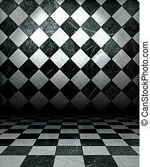 Check Grunge Room  - Black And White Check Grunge Room