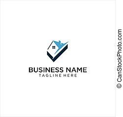 Check House Logo Design Business Industrial .  Check Home Logo Vector Icon . Check Real Estate Logo Icon Stock Vector