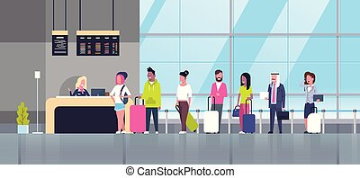 Check In Airport Group Of Mix Race Passengers Standing In Queue To Counter, Departures Board Concept