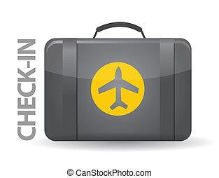 check-in, borsa, disegno, illustrazione