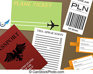 check-in visa - Illustration of all the documents you would ...