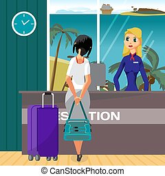 Check into a hotel on a tropical beach. Young woman with suitcases is standing at the reception desk. Flat vector cartoon illustration