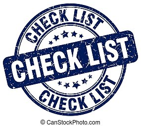 check list blue grunge round vintage rubber stamp