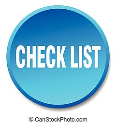 check list blue round flat isolated push button
