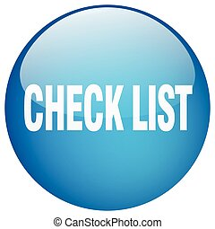 check list blue round gel isolated push button