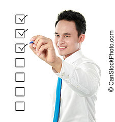 check list - businessman marking check boxes with marker