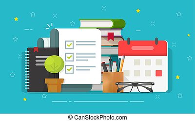 Check list document on desktop workplace vector, flat cartoon checklist complete or done form on working table with calendar, education task planning report, office agenda organizing, study workflow