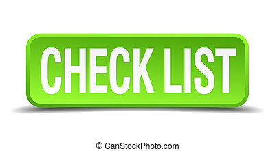 check list green 3d realistic square isolated button