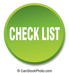 check list green round flat isolated push button
