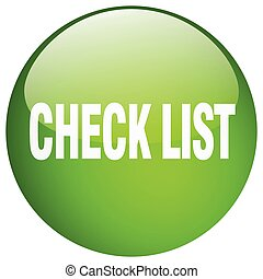 check list green round gel isolated push button