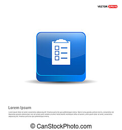 Check List Icon - 3d Blue Button