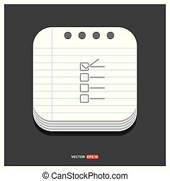 Check list ok Icon Gray icon on Notepad Style template Vector EPS 10 Free Icon