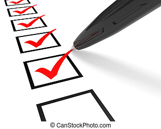 Check list. Red ticks in checkboxes and pen. 3D illustration...