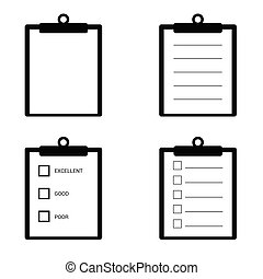 check list set icon illustration in black