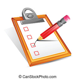 Check List - illustration of pencil making tick in check box...